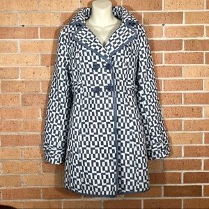 Anthropologie Tulle Coat size Medium gray white